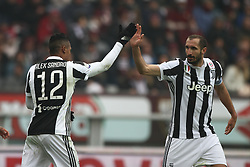 February 18, 2018 - Turin, Italy - Juventus defender Alex Sandro (12) celebrates with Juventus defender Giorgio Chiellini (3) after scoring his goal during the Serie A football match n.25 TORINO - JUVENTUS on 18/02/2018 at the Stadio Olimpico Grande Torino in Turin, Italy. (Credit Image: © Matteo Bottanelli/NurPhoto via ZUMA Press)