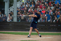 KELOWNA, CANADA - JUNE 28: NHL Montreal Canadiens player and former Kelowna Rocket Shea Weber belts a home run during the opening charity game of the Home Base Slo-Pitch Tournament fundraiser for the Kelowna General Hospital Foundation JoeAnna's House on June 28, 2019 at Elk's Stadium in Kelowna, British Columbia, Canada.  (Photo by Marissa Baecker/Shoot the Breeze)