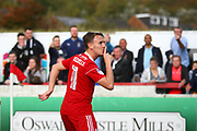 Accrington Stanley's Sean McConville (11) scores a goal and celebrates 1-0 during the EFL Sky Bet League 2 match between Accrington Stanley and Coventry City at the Fraser Eagle Stadium, Accrington, England on 14 October 2017. Photo by John Potts.
