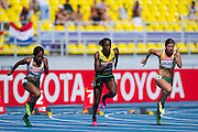 (L-R) Tahesia Harrigan Scott and Kerron Steward from Jamaica and Lina Grincikaite from Lithuenia compete in women's 100 meters qualification during the 14th IAAF World Athletics Championships at the Luzhniki stadium in Moscow on August 11, 2013.<br /> <br /> Russian Federation, Moscow, August 11, 2013<br /> <br /> Picture also available in RAW (NEF) or TIFF format on special request.<br /> <br /> For editorial use only. Any commercial or promotional use requires permission.<br /> <br /> Mandatory credit:<br /> Photo by &copy; Adam Nurkiewicz / Mediasport