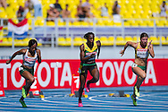(L-R) Tahesia Harrigan Scott and Kerron Steward from Jamaica and Lina Grincikaite from Lithuenia compete in women's 100 meters qualification during the 14th IAAF World Athletics Championships at the Luzhniki stadium in Moscow on August 11, 2013.<br /> <br /> Russian Federation, Moscow, August 11, 2013<br /> <br /> Picture also available in RAW (NEF) or TIFF format on special request.<br /> <br /> For editorial use only. Any commercial or promotional use requires permission.<br /> <br /> Mandatory credit:<br /> Photo by © Adam Nurkiewicz / Mediasport