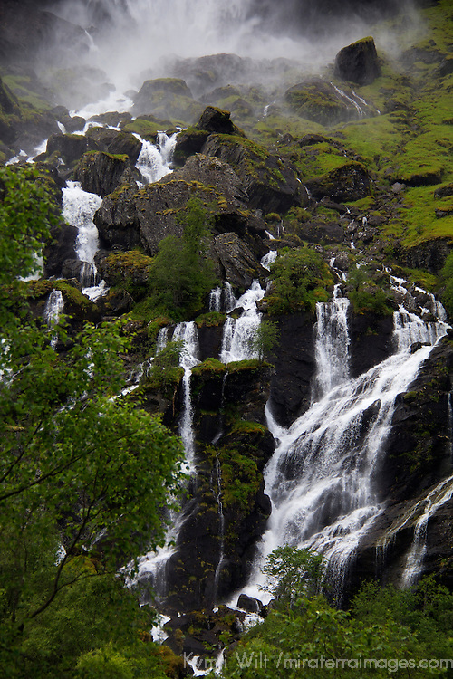 Europe, Norway, Flam. Lush waterfall in Flam, Norway.