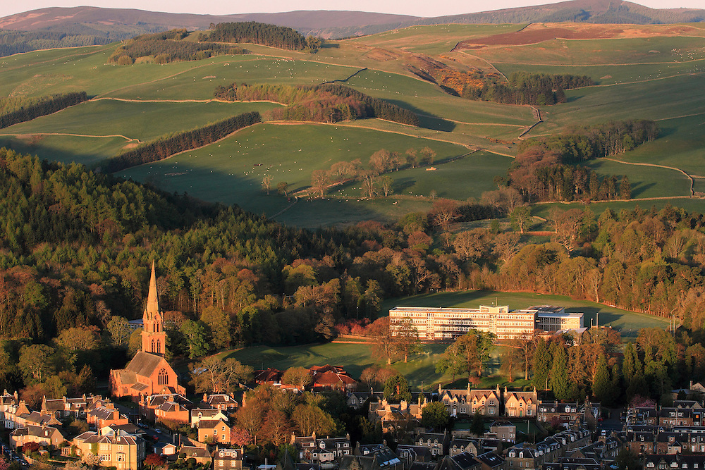 The central border town of Galashiels on an early spring morning - overlooking Old Parish & St.Paul's Church