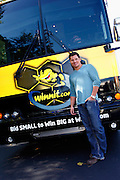 CINCINNATI, OH - OCTOBER 5:  Nick Lachey looks on in front of his bus during the kickoff to The Everybody Wins Tour with Nick Lachey at Freestore Foodbank on October 5, 2009 in Cincinnati, Ohio. (Photo by Joe Robbins/WireImage for Foodbank)