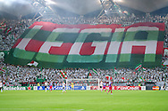 Legia's supporters during the UEFA Champions League play-off second leg match between Legia Warsaw and FC Steaua Bucuresti at Pepsi Arena Stadium in Warsaw on August 27, 2013.<br /> <br /> Poland, Warsaw, August 27, 2013<br /> <br /> Picture also available in RAW (NEF) or TIFF format on special request.<br /> <br /> For editorial use only. Any commercial or promotional use requires permission.<br /> <br /> Photo by © Adam Nurkiewicz / Mediasport
