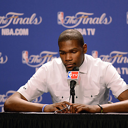 Jun 17, 2012; Miam, FL, USA; Oklahoma City Thunder small forward Kevin Durant during a post game press conference after game three in the 2012 NBA Finals against the Miami Heat at the American Airlines Arena. Miami won 91-85. Mandatory Credit: Derick E. Hingle-US PRESSWIRE