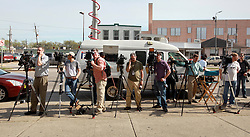 16 March 2015. New Orleans, Louisiana.<br /> TV crews and the media at the Orleans Parish Criminal District Court for the extradition hearing for property trust heir Robert Durst, subject of HBO's 'The Jinx.' <br /> Photo; Charlie Varley/varleypix.com