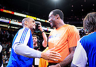 Jan. 7 2011; Phoenix, AZ, USA; Phoenix Suns forward Grant Hill (left) and New York Knicks forward Amar'e Stoudemire talk during the coin toss prior to the first half at the US Airways Center. The Knicks defeated the Suns 121-96. Mandatory Credit: Jennifer Stewart-US PRESSWIRE.
