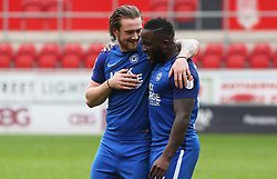 Jack Marriott of Peterborough United and team-mate Junior Morias embrace at full-time - Mandatory by-line: Joe Dent/JMP - 30/03/2018 - FOOTBALL - Aesseal New York Stadium - Rotherham, England - Rotherham United v Peterborough United - Sky Bet League One