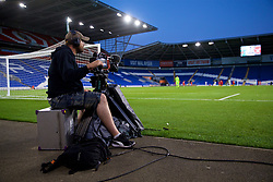 CARDIFF, WALES - Thursday, August 9, 2018: A television cameraman during the UEFA Europa League Third Qualifying Round 1st Leg match between The New Saints FC and FC Midtjylland at Cardiff City Stadium. (Pic by David Rawcliffe/Propaganda)