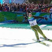 Winter Olympics, Vancouver, 2010. Simon Ammann, Switzerland, winning Gold in the Ski Jumping Men's LH at Whistler Olympic Park, Whistler, during the Vancouver Winter Olympics. 20th February 2010. Photo Tim Clayton