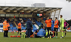 Jack Marriott of Peterborough United checks on the well-being of John White of Southend United who is tended to by medics after picking up an injury - Mandatory by-line: Joe Dent/JMP - 03/02/2018 - FOOTBALL - ABAX Stadium - Peterborough, England - Peterborough United v Southend United - Sky Bet League One