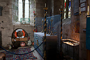 Featuring paraphenalia of local fishing industry, the interior of St. Mary's church on Holy Island, on 27th September 2017, on Lindisfarne Island, Northumberland, England. The Holy Island of Lindisfarne, also known simply as Holy Island, is an island off the northeast coast of England. Holy Island has a recorded history from the 6th century AD; it was an important centre of Celtic and Anglo-saxon Christianity. After the Viking invasions and the Norman conquest of England, a priory was reestablished.
