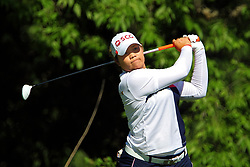 June 14, 2018 - Belmont, Michigan, United States - Ariya Jutanugarn of Thailand hits from the 8th tee during the first round of the Meijer LPGA Classic golf tournament at Blythefield Country Club in Belmont, MI, USA  Thursday, June 14, 2018. (Credit Image: © Amy Lemus/NurPhoto via ZUMA Press)
