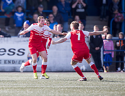 Brora Rangers Colin MacLean cele scoring their goal. <br /> Montrose 3 v 1 Brora Rangers, Scottish League Two play-off second leg, today at Links Park, Montrose.
