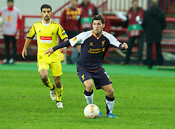 MOSCOW, RUSSIA - Thursday, November 8, 2012: Liverpool's Daniel Pacheco in action against FC Anji Makhachkala during the UEFA Europa League Group A match at the Lokomotiv Stadium. (Pic by David Rawcliffe/Propaganda)