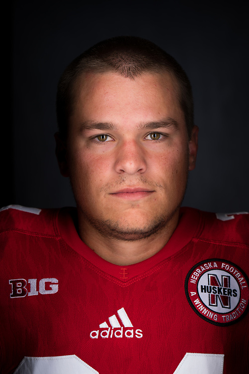 Drew Brown #34 during a portrait session at Memorial Stadium in Lincoln, Neb. on June 7, 2017. Photo by Paul Bellinger, Hail Varsity