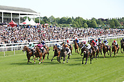 MR LUPTON (2) [Green & White colours far side] ridden by jockey Tony Hamilton and trained by Richard Fahey winning The MansionBet Sprint Handicap Stakes over 5f (£50,000) at York Racecourse, York, United Kingdom on 26 May 2018. Picture by Mick Atkins.