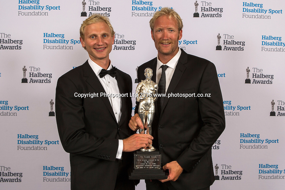 The Halberg Supreme Award winner is Rowing`s Men's Pair of Hamish Bond and  Eric Murray  at the 52nd Halberg Awards. Halberg Disability Sport Foundation. Vector Arena, Auckland, New Zealand. Wednesday 11 February 2015. Copyright Photo: David Rowland / www.photosport.co.nz
