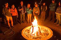 Backroads Singles-Solos Trip Evening Campfire at Thunderbird Ranch, Healdsburg, California
