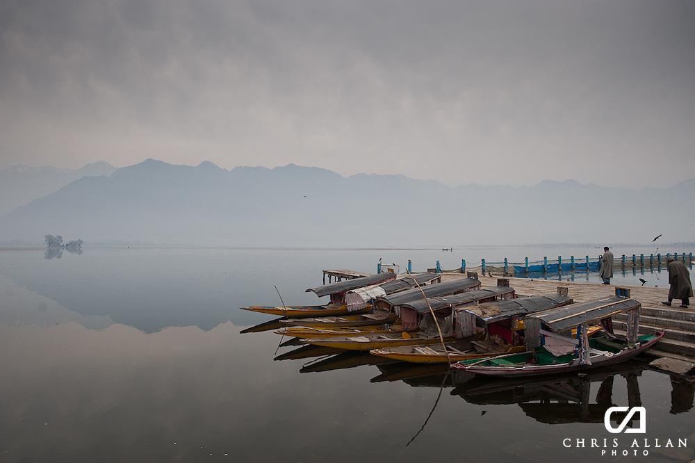 Shikaras awaiting passengers on Dal Lake, Srinagar, Kashmir, India