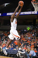 Virginia guard/forward Mamadi Diane (24) goes up for a dunk.  The Virginia Cavaliers defeated the Shepherd Rams 87-52 in an NCAA basketball exhibition game at the University of Virginia's John Paul Jones Arena in Charlottesville, VA on November 9, 2008.
