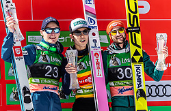 24.03.2019, Planica, Ratece, SLO, FIS Weltcup Ski Sprung, Skiflug, Einzelbewerb, Finale, Siegerehrung, Tageswertung, im Bild 2. Platz Domen Prevc (SLO), Sieger Ryoyu Kobayashi (JPN), 3. Platz Markus Eisenbichler (GER) // 2nd place Domen Prevc of Slovenia Winner Ryoyu Kobayashi of Japan 3rd place Markus Eisenbichler of Germany during the winner ceremony for the day victory of the Ski Flying World Cup Final 2019. Planica in Ratece, Slovenia on 2019/03/24. EXPA Pictures © 2019, PhotoCredit: EXPA/Stefanie Oberhauser