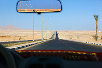 Sharm el Sheikh Egypt view through taxi windscreen