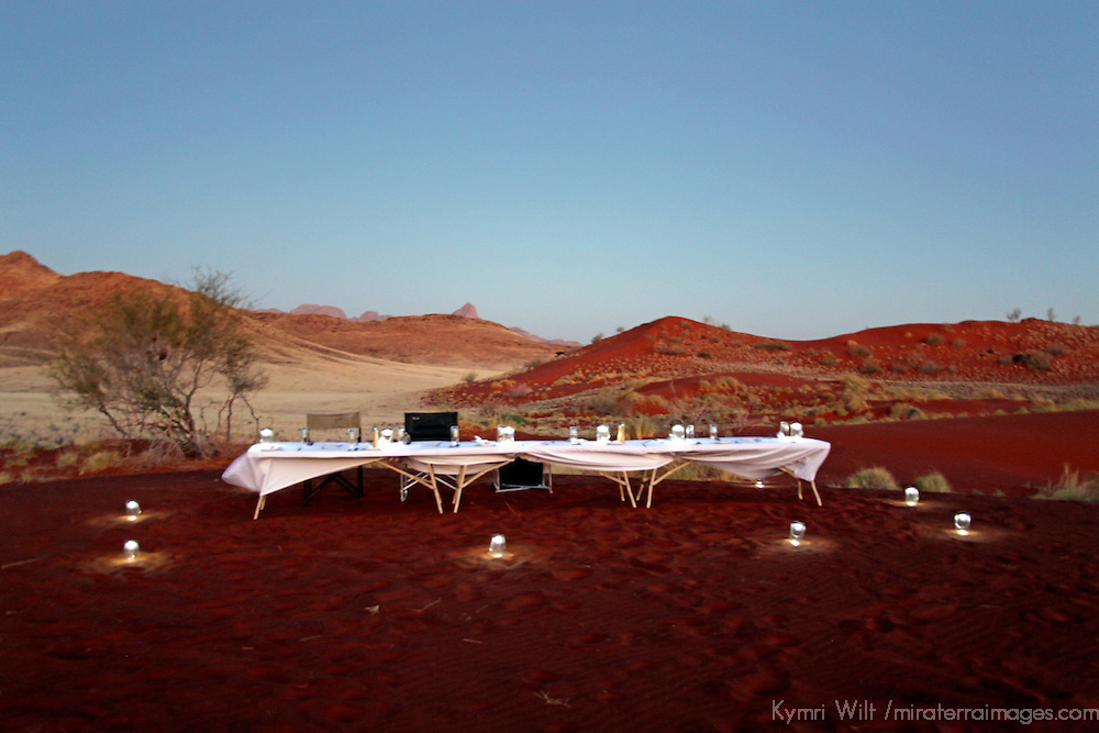 Africa, Namibia, Sossusvlei. Dinner in the dunes presented by Sossusvlei Desert Lodge.