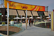 Santa Monica Place; Food Court, fresh, open-air design, shopping mall; dining restaurants, Department Stores, Santa Monica; CA;