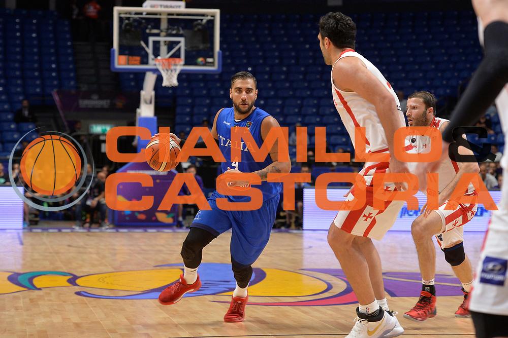 Pietro Aradori<br /> Nazionale Italiana Maschile Senior<br /> Eurobasket 2017 - Group Phase<br /> Georgia Italy Italia<br /> FIP 2017<br /> Tel Aviv, 06/09/2017<br /> Foto Ciamillo - Castoria/ Ivan Mancini