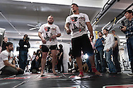"NEW YORK, NEW YORK, MARCH 25, 2010: Frank Mir (right) relaxes between drills during the media open work-out sessions for ""UFC 111: St. Pierre vs. Hardy"" at Peak Performance Strength and Conditioning Center in Manhattan on March 25, 2010."