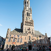 The Belfry (bell tower) in the Markt (Market Square) in the historic center of Bruges, a UNESCO World Heritage site.