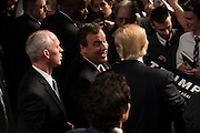Governor Chris Christie and Donald Trump visit with supporters at a campaign rally on February 26, 2016 in Fort Worth, Texas.  (Cooper Neill for The New York Times)