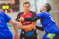 29.09.2018, Sporthalle Leoben-Donawitz, Leoben, AUT, HLA, Union JURI Leoben vs Sparkasse Schwaz HANDBALL TIROL, im Bild Sebastian Spendier (Sparkasse Schwaz HANDBALL TIROL), Maximilian Maier (Union JURI Leoben) // during the Handball League Austria, match between Union JURI Leoben vs Sparkasse Schwaz HANDBALL TIROL at the sport Hall, Leoben, Austria, 2018/09/29, EXPA Pictures © 2018, PhotoCredit: EXPA/ Dominik Angerer