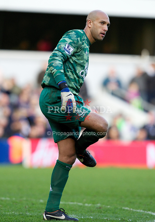 LONDON, ENGLAND - Saturday, March 3, 2012: Everton's goalkeeper Tim Howard in action against Queens Park Rangers during the Premiership match at Loftus Road. (Pic by Vegard Grott/Propaganda)