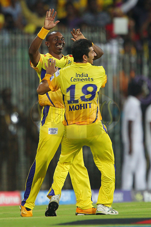 Dwayne Bravo of the Chennai Superkings celebrates the wicket of Murali Vijay of Kings XI Punjab  during match 24 of the Pepsi IPL 2015 (Indian Premier League) between The Chennai Superkings and The Kings XI Punjab held at the M. A. Chidambaram Stadium, Chennai Stadium in Chennai, India on the 25th April 2015.<br /> <br /> Photo by:  Ron Gaunt / SPORTZPICS / IPL