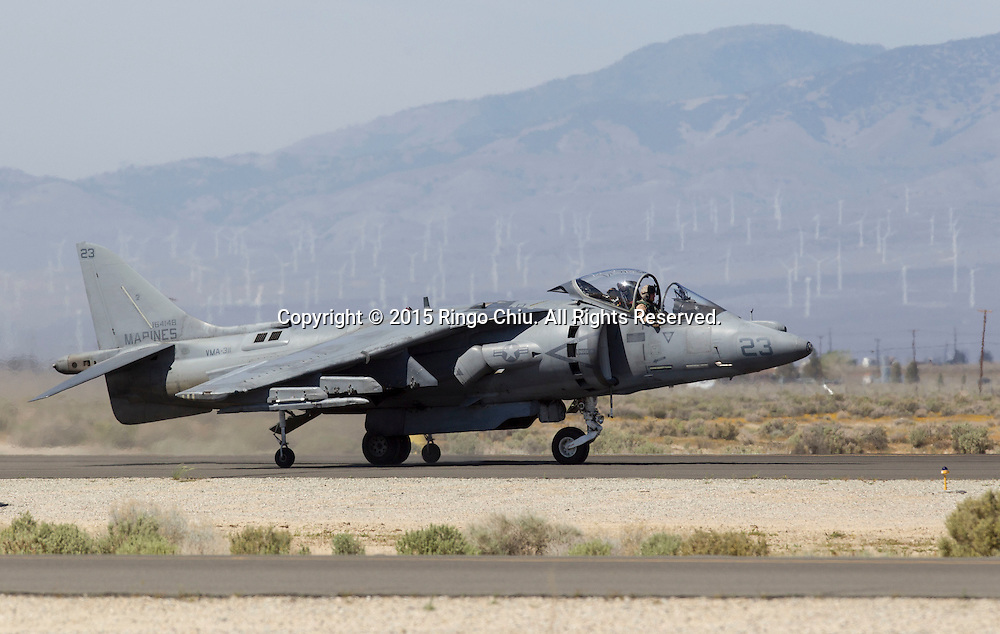 An U.S. Marine Corps AV-8B Harrier II performs during Los Angeles County Air Show in Lancaster, California on March 21, 2015. (Photo by Ringo Chiu/PHOTOFORMULA.com)