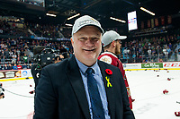 REGINA, SK - MAY 27:  Mario Pouliot, head coach of the Acadie-Bathurst Titan smiles after putting on a champions hat at Brandt Centre - Evraz Place on May 27, 2018 in Regina, Canada. (Photo by Marissa Baecker/CHL Images)