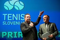 Rado Mulej and Gasper Bolhar during Slovenian Tennis personality of the year 2017 annual awards presented by Slovene Tennis Association Tenis Slovenija, on November 29, 2017 in Siti Teater, Ljubljana, Slovenia. Photo by Vid Ponikvar / Sportida