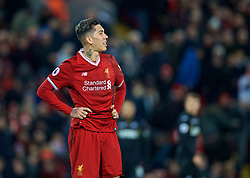 LIVERPOOL, ENGLAND - Boxing Day, Tuesday, December 26, 2017: Liverpool's Roberto Firmino looks dejected after missing a chance during the FA Premier League match between Liverpool and Swansea City at Anfield. (Pic by David Rawcliffe/Propaganda)
