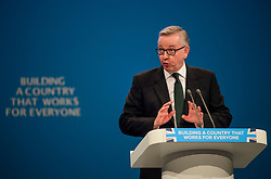 © Licensed to London News Pictures. 02/10/2017. Manchester, UK. Secretary of State for Environment, Food and Rural Affairs MICHAEL GOVE speaking at the second day of the Conservative Party Conference. The four day event is expected to focus heavily on Brexit, with the British prime minister hoping to dampen rumours of a leadership challenge. Photo credit: Ben Cawthra/LNP