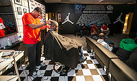 Jordan Brands barbershop  in Chicago as part of the Chicago League High School basketball playoffs.