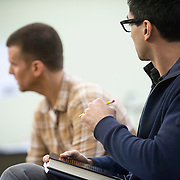 "November 20, 2012 - New York, NY : Actors Armando Riesco, left, and Ryan Shams perform in an early rehearsal for ""Water by the Spoonful"" at Second Stage Theatre on West 43rd Street in Manhattan on Tuesday night. The play, by Quiara Alegria Hudes, won the 2012 Pulitzer Prize for drama. CREDIT: Karsten Moran for The New York Times"