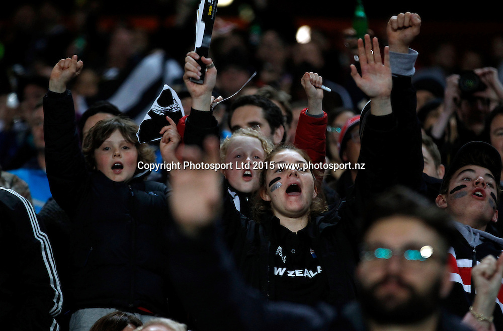 Fans celebrate. Rugby Championship, Bledisloe Cup, All Blacks v Australia, Eden Park Auckland, Saturday 15th August 2015. Copyright Photo: Shane Wenzlick / www.photosport.nz