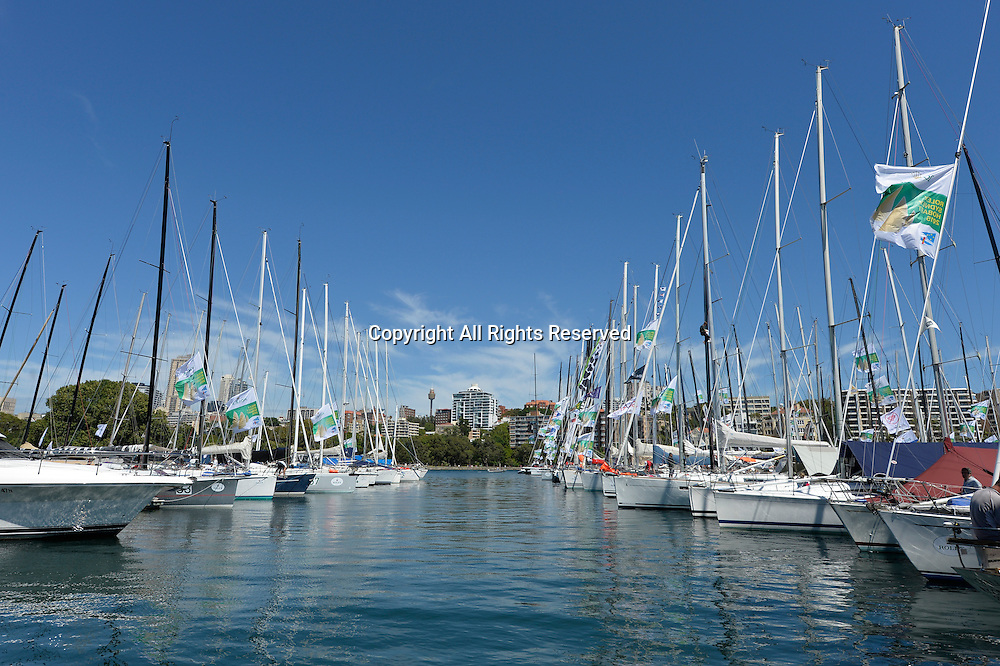26.12.2015 Sydney, Australia. Rolex Sydney to Hobart Yacht race 2015. The calm before the storm in the harbour before race start.