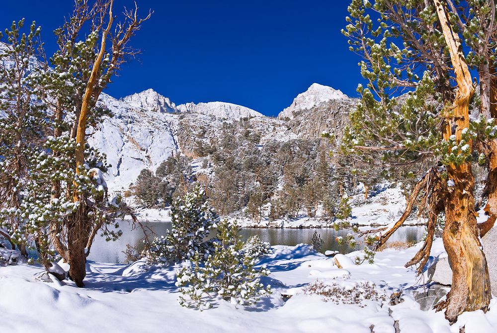 Fresh snow on Mount Abbot and Gem Lake after a winter storm, John Muir Wilderness, Sierra Nevada Mountains, California USA