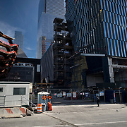 "British Designer Thomas Heatherwick's public sculpture 'The Vessel"" under construction at Hudson Yards, New York City's newest developement project."
