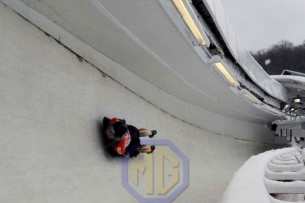 14 December 2007:  Marion Trott of Germany competes at the FIBT World Cup Women's skeleton competition on December 14, 2007 at the Olympic Sports Complex in Lake Placid, NY.  The race was won by Katie Uhlaender of the United States with a time of 1:52.60.