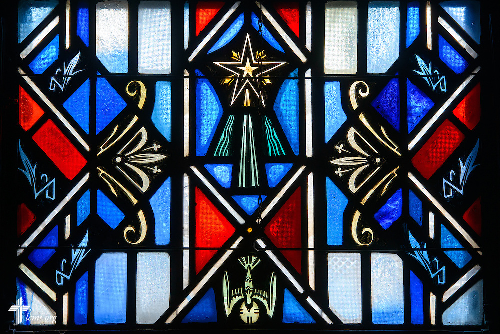 Stained glass depicts the Holy Spirit at Luther Memorial Chapel on Friday, Jan. 29, 2016, in Shorewood, Wis. LCMS Communications/Erik M. Lunsford
